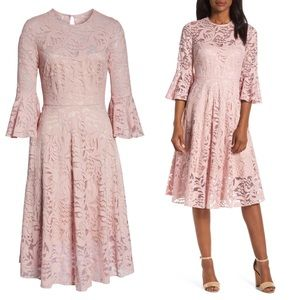 Eliza J Ruffle Sleeve Fit & Flare Lace Dress